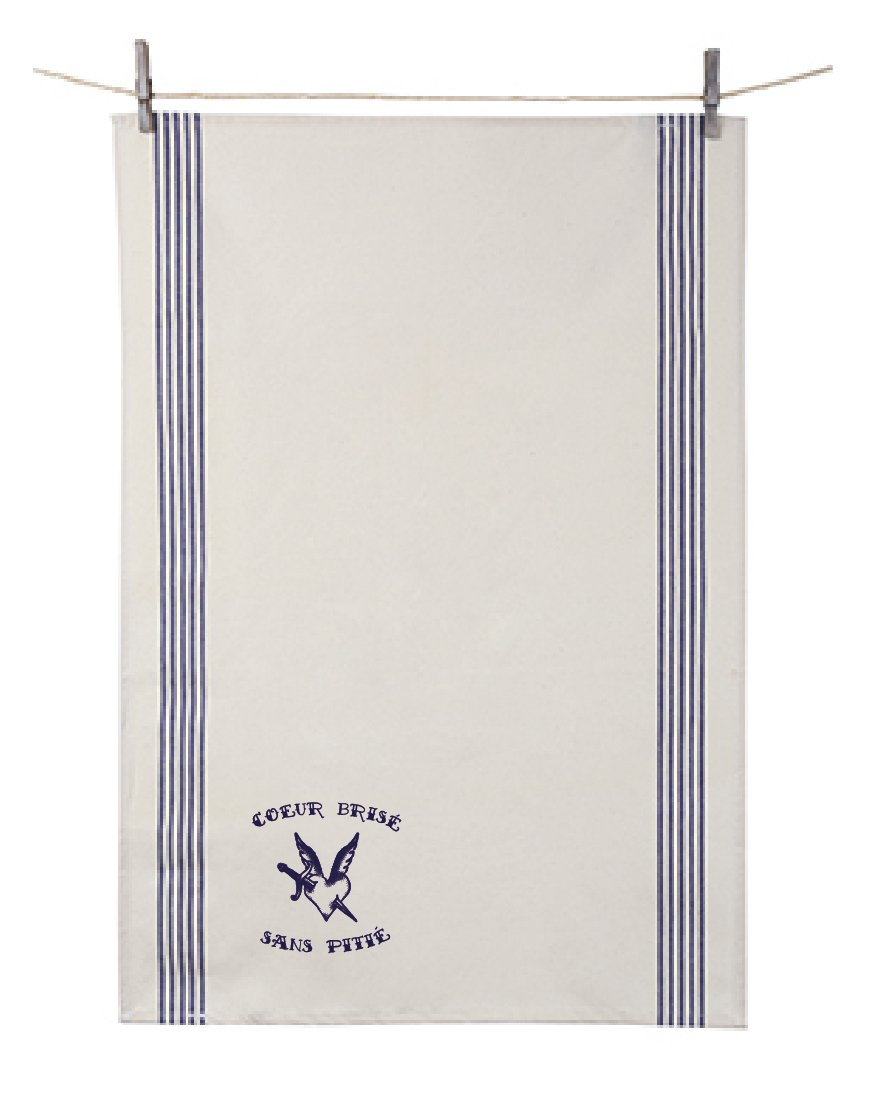 Orban & Sons Tatouage Cœur Brisé Renzo Dish Towel Blue (Set of 2)