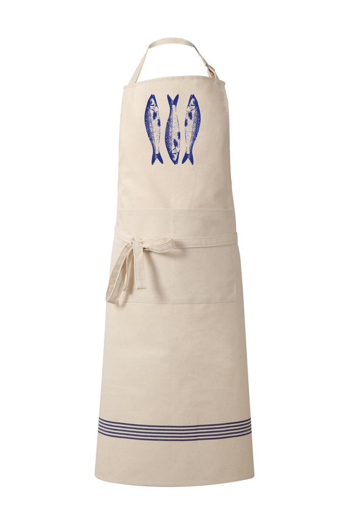 Tissage de L'Ouest Natural Cotton Apron with Blue Monogramme & Sardine