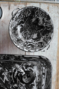 Orban & Sons Black & White Swirl Enamel Large Tray