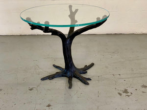 "Metal and glass branch table, approx. 48"" dia."