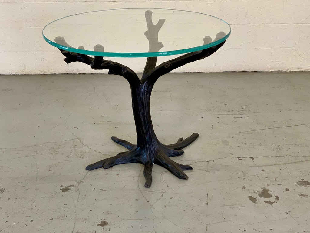 Metal and glass branch table, approx. 48