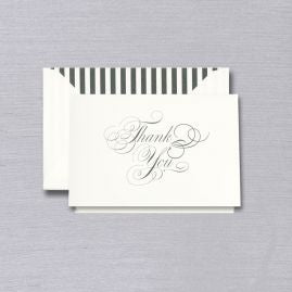Engraved Black & White Thank You Note