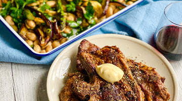 Grilled Lamb Chops with Eggplant, Asparagus & Butter Beans