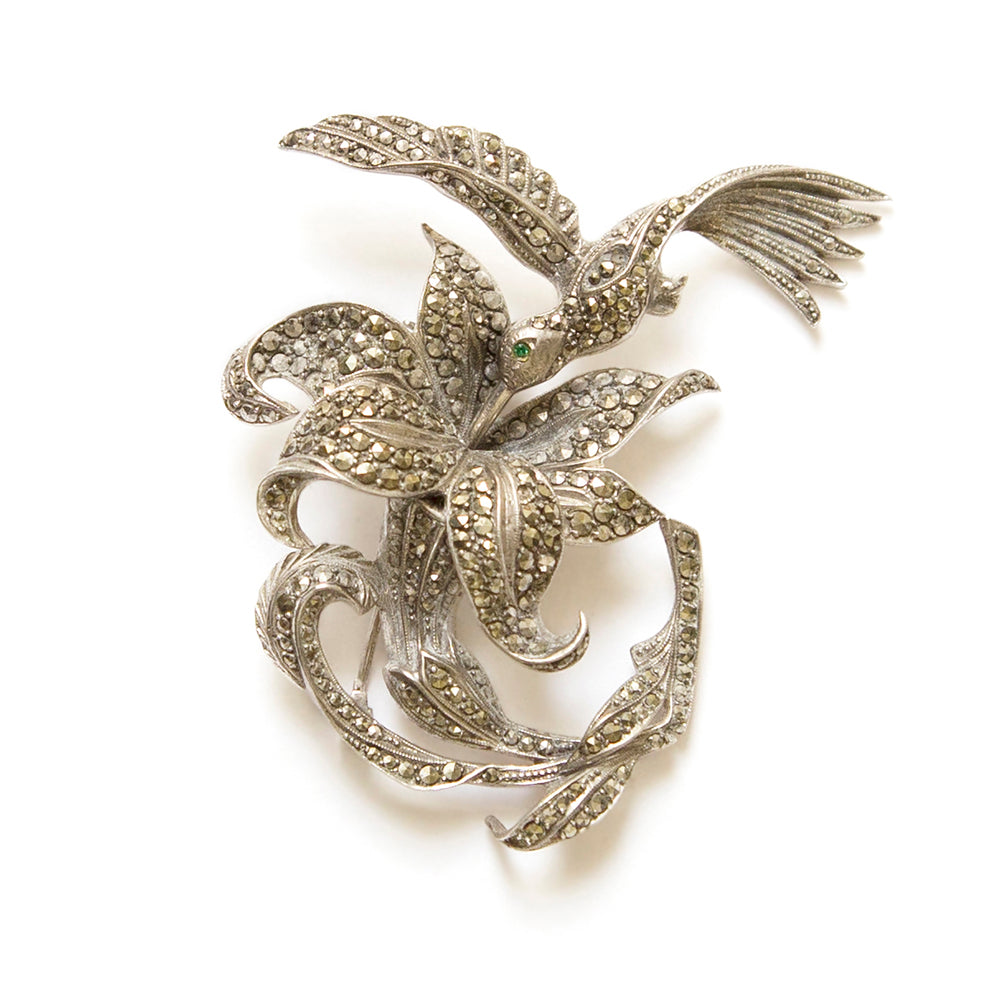 Marcasite Hummingbird and Flower Brooch