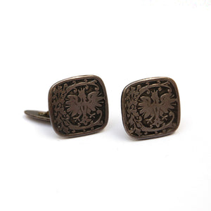 Silver Square Cufflinks with Eagle Design