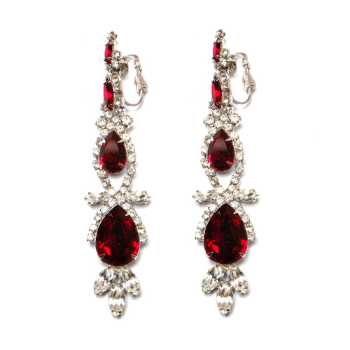 Ruby and Diamanté Drop Earrings