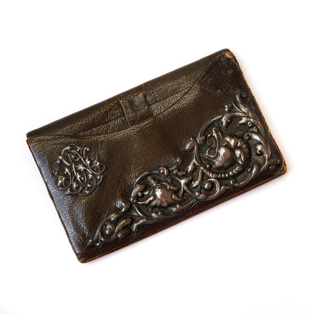 Victorian Brown Leather Wallet with Motif