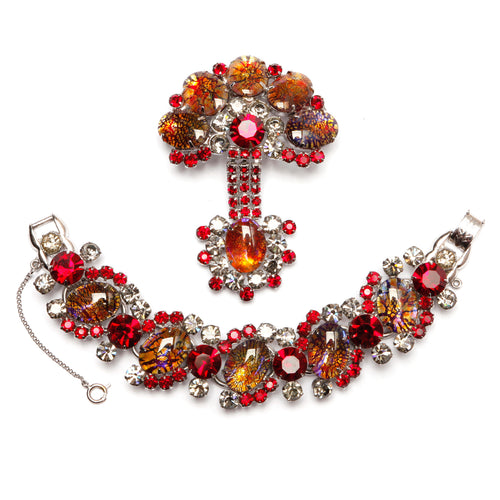 Juliana Red, Smoke and Iridescent Fancy Stone Bracelet and Pin