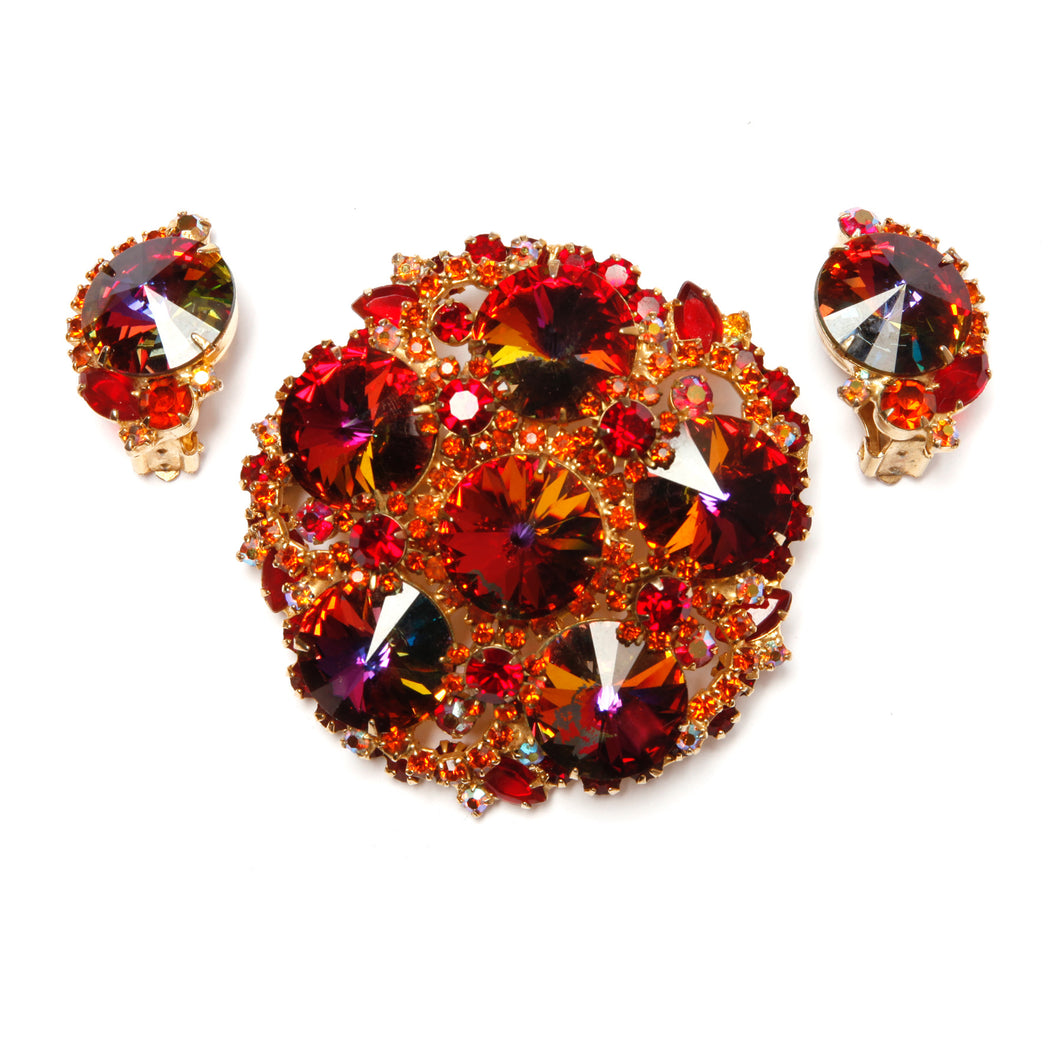 Juliana Red Tone Watermelon Stone Brooch and Earrings