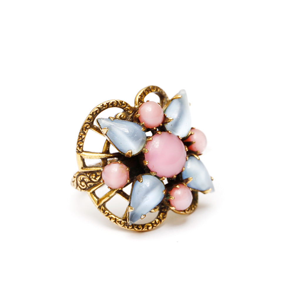 Milky Pink and Blue Cabochon Ring