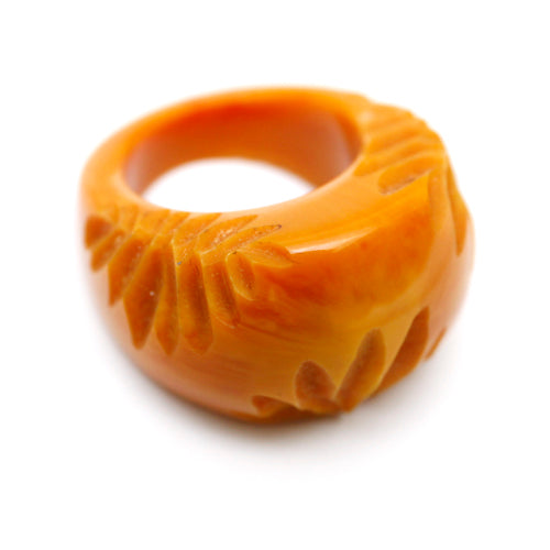 Carved Butterscotch Bakelite Ring