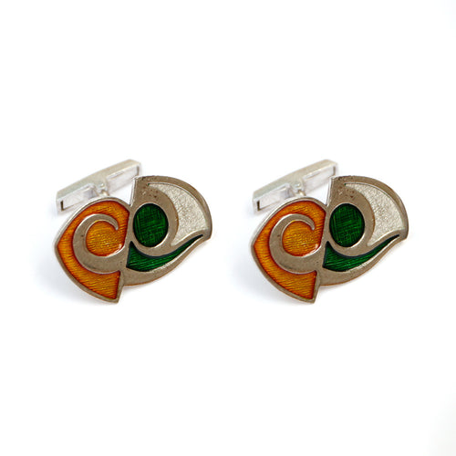 1950s Green and Yellow Wave Cufflinks
