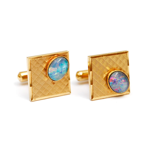 Gold Square Cufflinks with Blue Cabochon