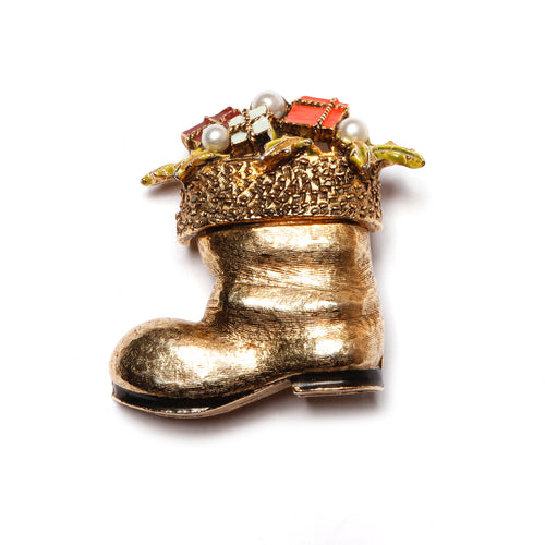 Art Santa Boot Brooch