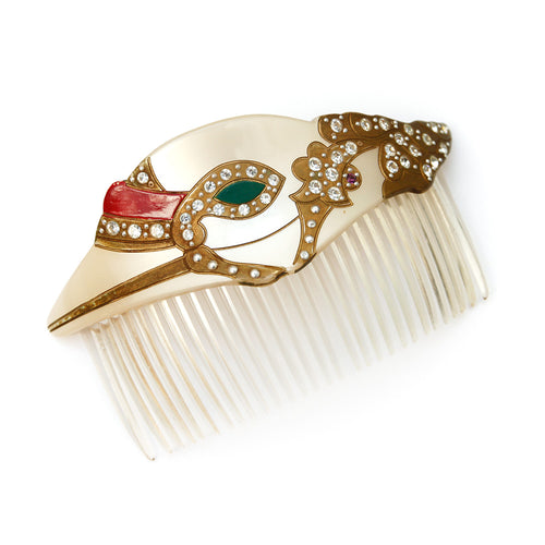 Pearlized White Hair Comb with Multi-Colored Design