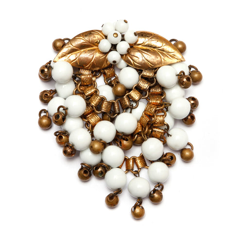 Miriam Haskell White and Gold Dangly Brooch