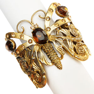 Gold Butterfly Cuff Bracelet with Amber Stones