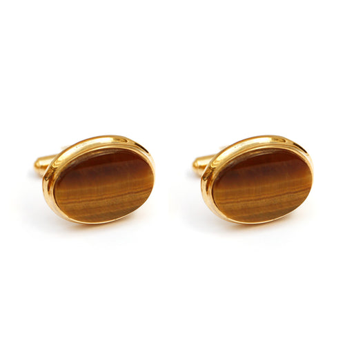 Sherman Senator Gold Cufflinks with Oval Tiger's Eye Stone