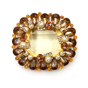 Josane Citrine and Amber Brooch with Pearl Accents
