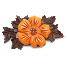 Load image into Gallery viewer, Butterscotch Bakelite and Wood Flower Brooch