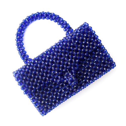Italian Blue Beaded Purse with Two Closures
