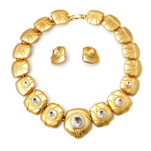 Gold Headlights Necklace and Earring Set