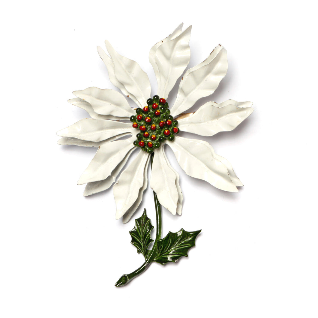 Enamel Metal Poinsettia Brooch