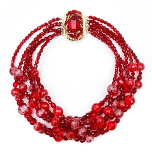 Ornella Multi-Strand Red Glass Bead Necklace