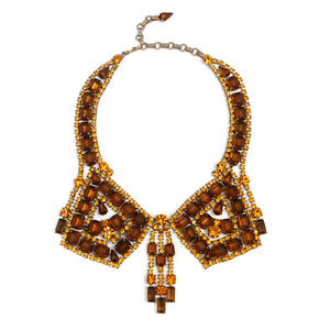1950s Weiss Amber Bib Necklace