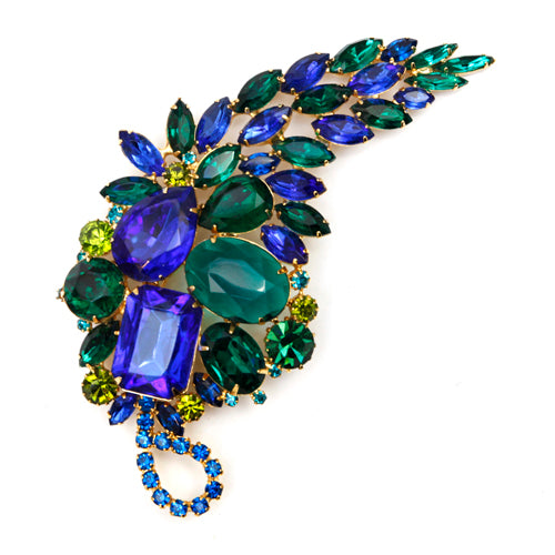 Blue and Emerald Green Leaf Brooch