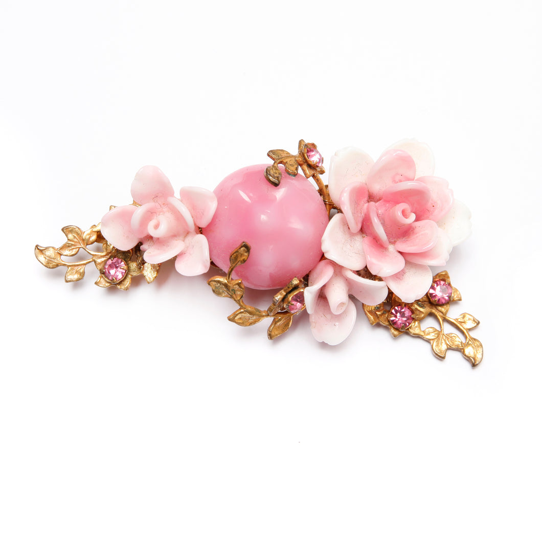 Miriam Haskell Glass Flower Brooch