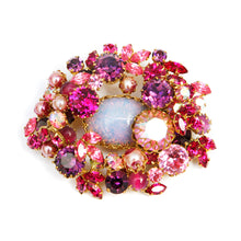 Load image into Gallery viewer, 1950s Pink Jewel Encrusted Brooch