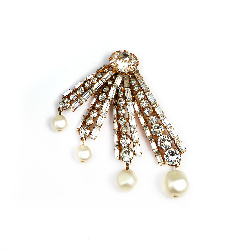 Diamante and Pearl Brooch