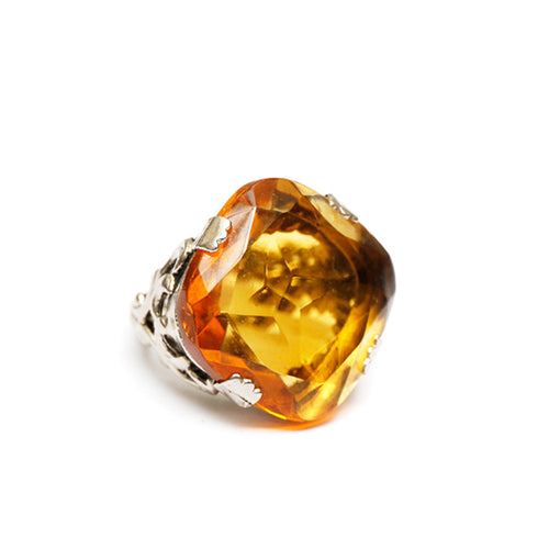Twisted Silver-Toned Ring with Amber Stone