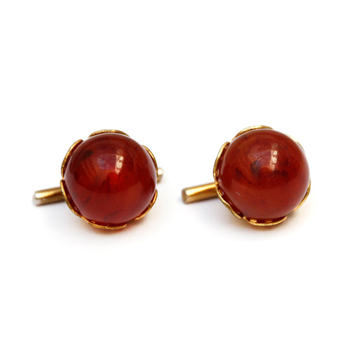 1950s Amber Ball Cufflinks in Gold Metal