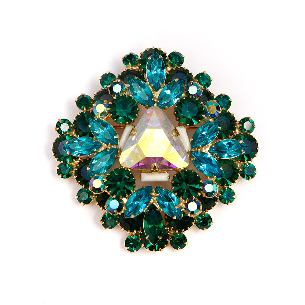 Dominique Large Green Brooch