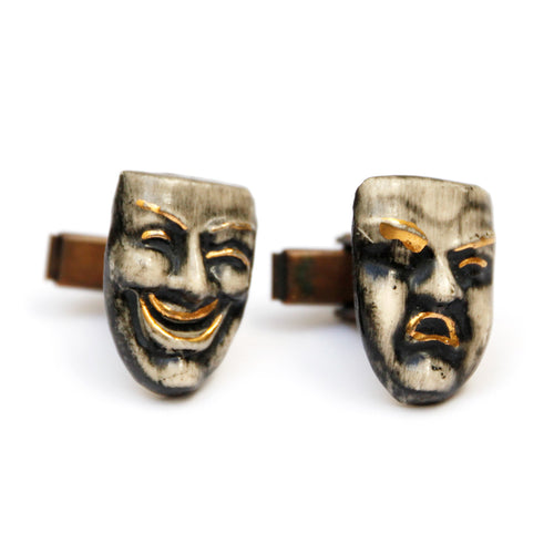1960s Theatre Mask Ceramic Cufflinks