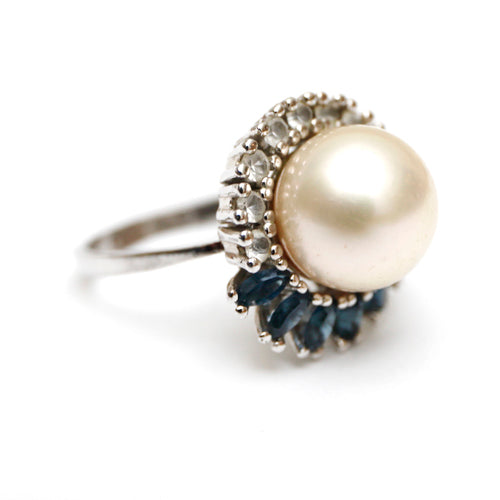 Pearl Ring with Accent Rhinestones and Navettes