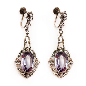 Silver Marcasite Earrings with Pale Purple Crystal