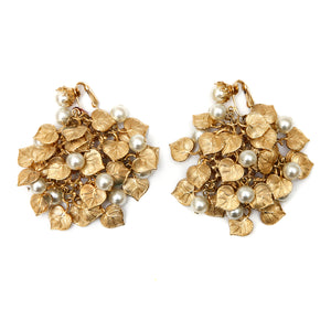 Gold-Toned Earrings with Leaves and Faux Pearls