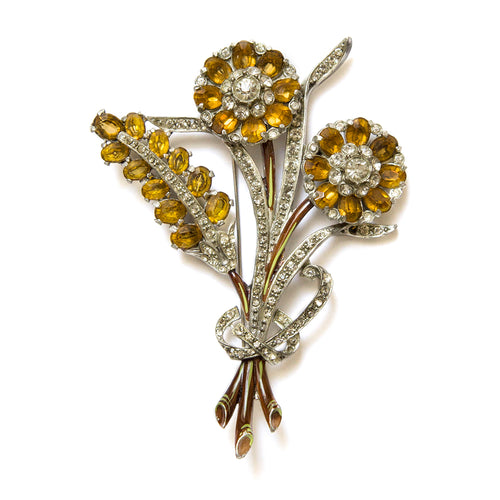 Double Flower Amber Brooch