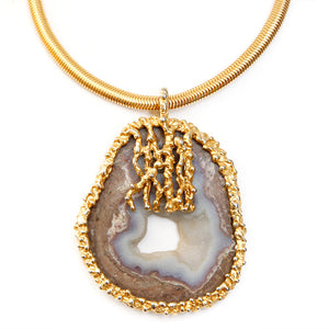 Gold-Toned Necklace with Agate Pendant