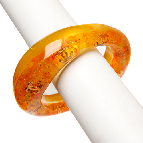 1980's Chanel Orange Lucite Bangle