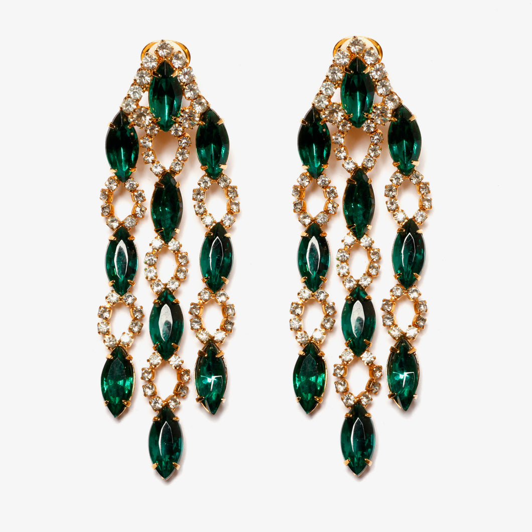 Siluana Emerald and Diamante Chandelier Earrings