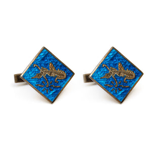 Siam Sterling Cufflinks and Tie Clip with Blue Enamel