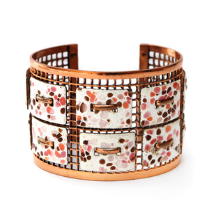 Openwork Copper and Pink Enamel Cuff