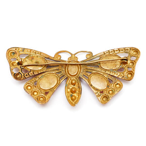 Czech Butterfly Brooch with Red Cabochons