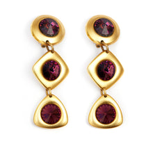 Load image into Gallery viewer, Gold and Purple Dangly Earrings