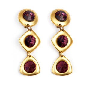 Gold and Purple Dangly Earrings