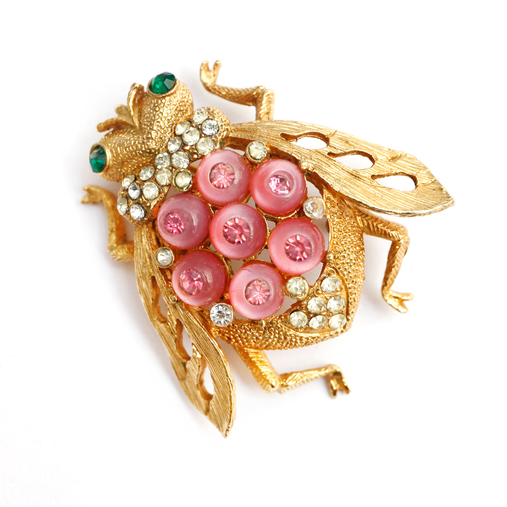 Corocraft Bug Brooch with Pink Cabochons